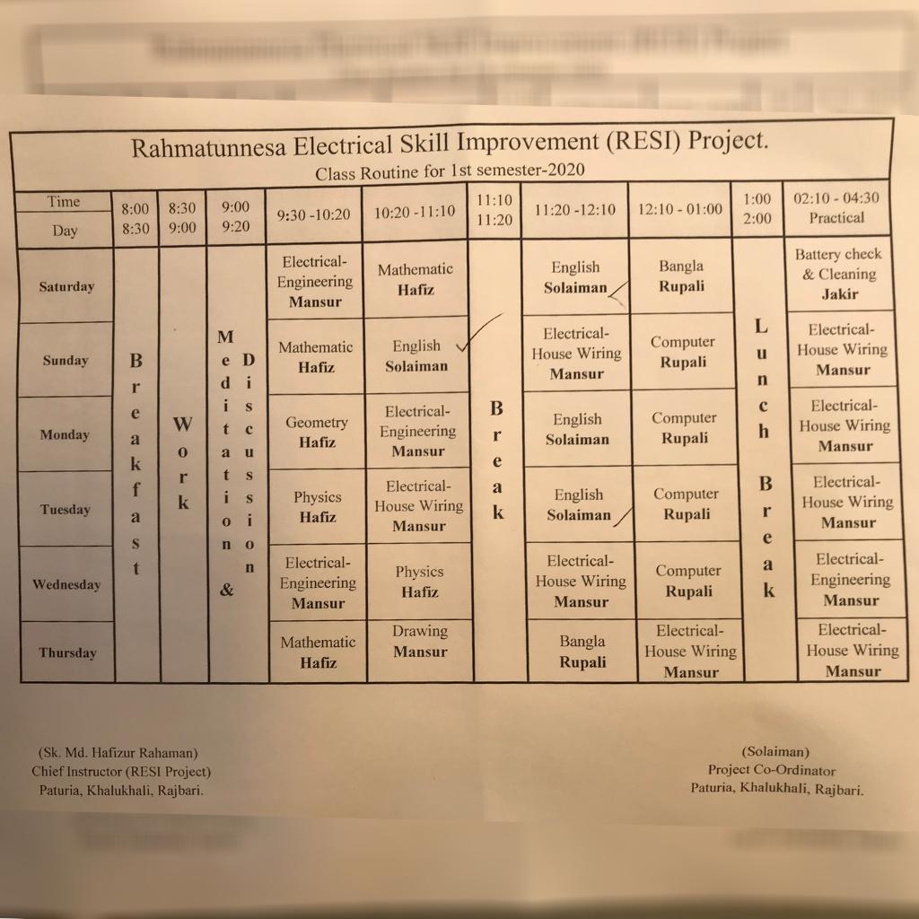 Stundenplan des 1. Semesters